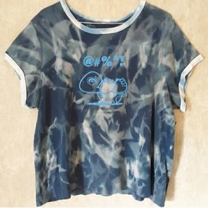Blue bleached upcycled turtle t shirt size 1X